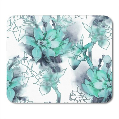 SIDONKU Teal Grey Spring Flowers Watercolor Gray Floral Abstract Beautiful Mousepad Mouse Pad Mouse Mat 9x10 inch