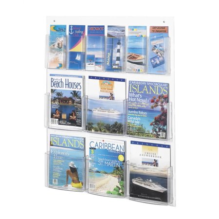 Clear2c 6 Magazine and 6 Pamphlet Display Rack in Clear Finish - Pamphlet Pocket Wood Display Rack