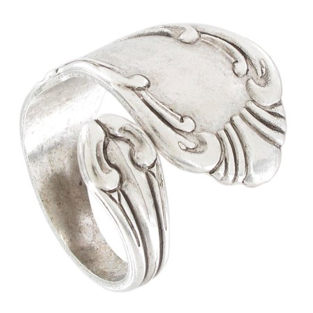 Antiqued Silver Tone Flatware Classic Spoon Adjustable Ring