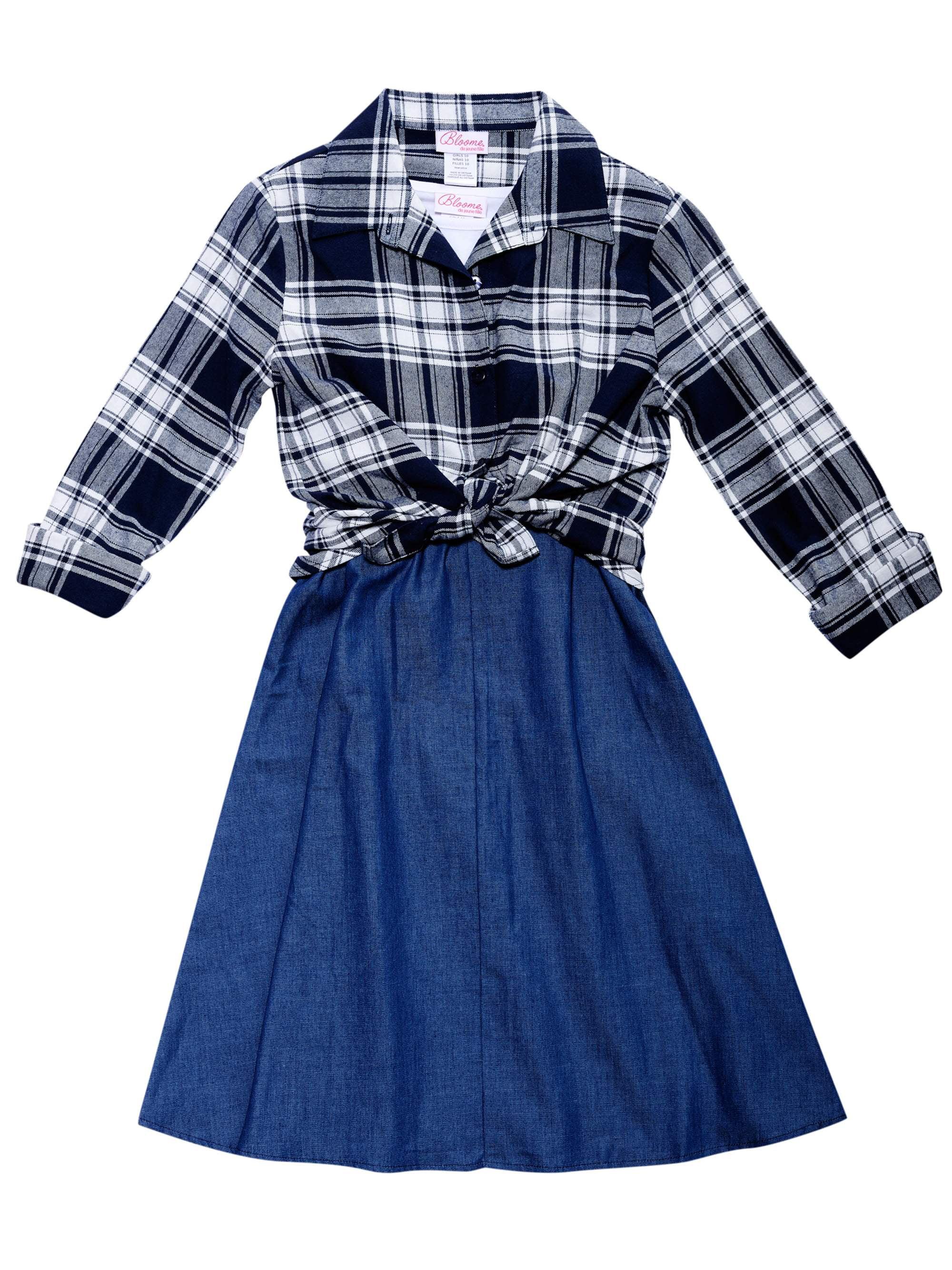 Chambray Slip Dress, Tee & Plaid Shirt, 3-Piece Set (Big Girls)