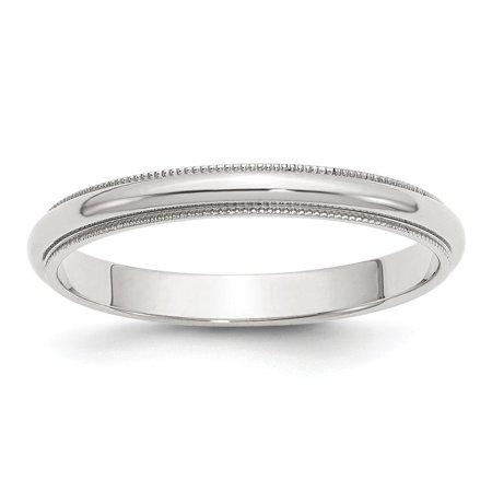 Roy Rose Jewelry Sterling Silver 3mm Half Round Milgrain Size 8.5 Wedding Band Ring 3mm Half Round Wedding Band