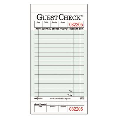 National Checking Company Guest Check Pad with Customer R...