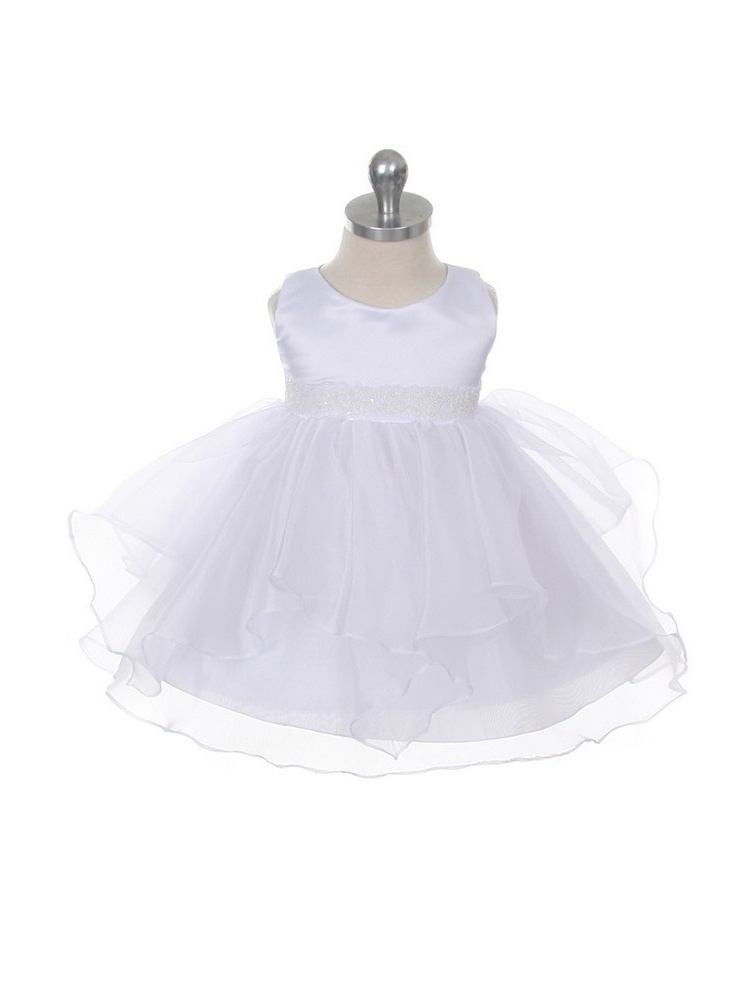 Chic Baby White Organza Ruffle Special Occasion Dress Baby Girl