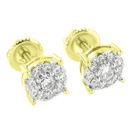 Cluster Set Solitaire Earrings Round Shape 14K Gold Finish Lab Created Cubic Zirconias Screw On