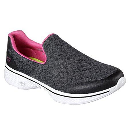 Skechers Women's Go Walk 4 Diffuse Performance Slip on Sneaker - Black/White
