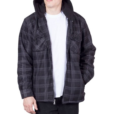 Walnut Creek Mens Flannel Hoodie Mens Jackets Zip Up Fleece Sherpa Lined Shirt (2X-Large, Black)
