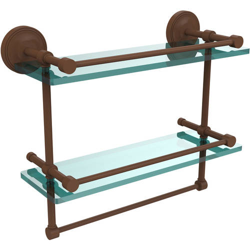 "16"" Gallery Double Glass Shelf with Towel Bar"