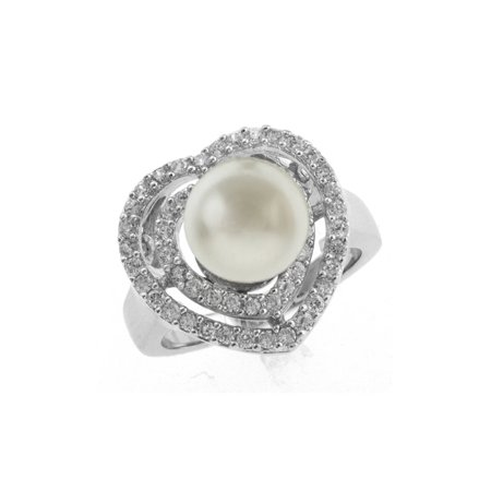 10 Mm Pearl Ring - Stunning 10mm White Shell Pearl and CZ Heart Shape Ring