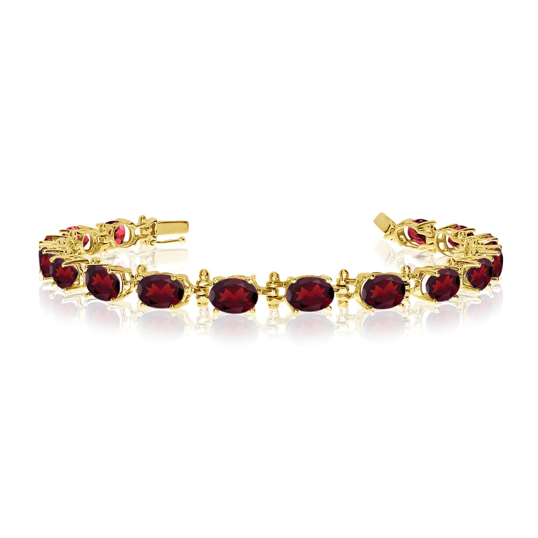 14K Yellow Gold Oval Garnet Tennis Bracelet by