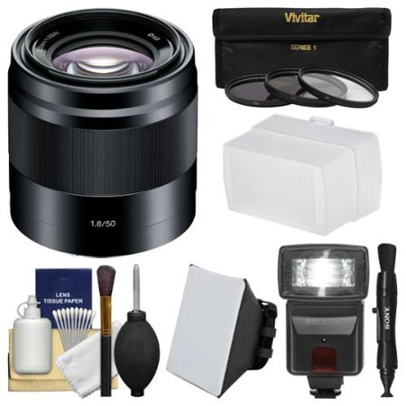 Sony Alpha E-Mount 50mm f/1.8 OSS Lens (Black) with Flash + Soft Box + Diffuser + 3 Filters Kit for A7, A7R, A7S Mark II, A5100, A6000, A6300