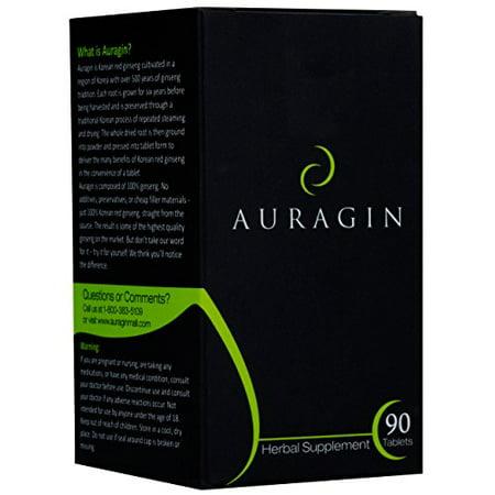 Auragin: ginseng rouge coréen - 100% Panax Ginseng - 8% ginsénosides - 90 comprimés