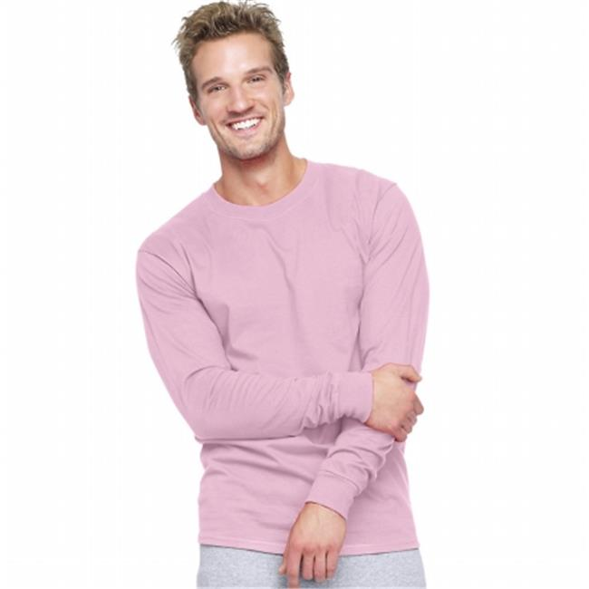 Pale Pink Adult Beefy-T Long-Sleeve T-Shirt - Size 3XL - image 1 of 1