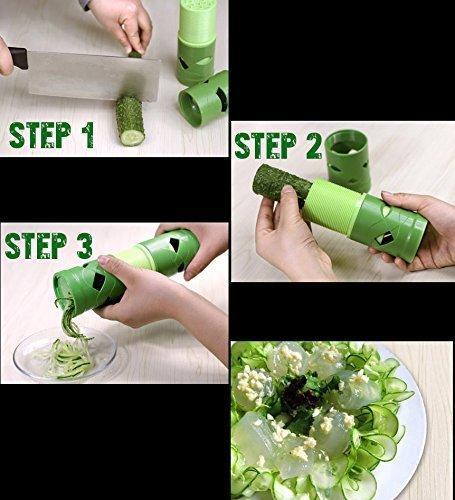 #1 Veggie Spiralizer - The VEGGIE TWIST - Raw Low Carb Noodle Maker Spiral Zucchini, Squash,  Julienne Zoodle Slicer