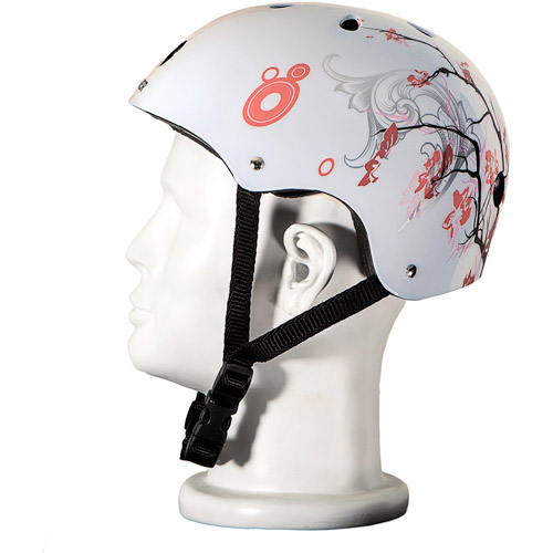 Punisher Skateboards Cherry Blossom Pink and White Adjustable All-Sport Skate-Style Helmet, Medium by Generic