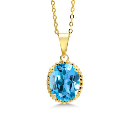 4.00 Ct Oval Swiss Blue Topaz 18K Yellow Gold Plated Silver Pendant With (18k Yellow Gold Pendant Chain)