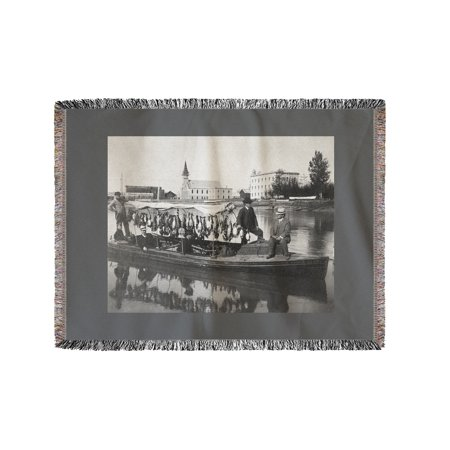 - Marshall Erwin with Boat with a Kill of Ducks in Fairbanks Photograph (60x80 Woven Chenille Yarn Blanket)