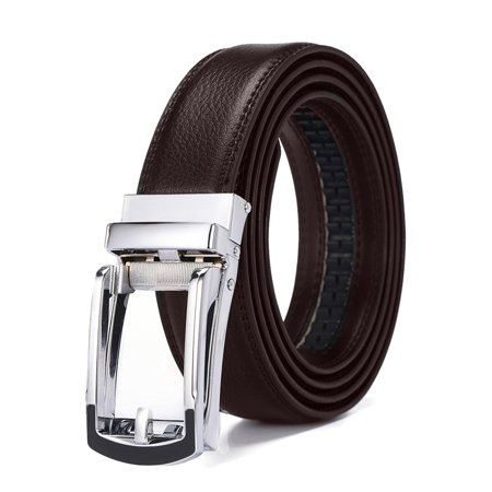 Xhtang 2017 New Style Comfort Click Belt Ratchet Leather Dress Belts for Men 30mm Wide Brown And Black Leather Belt 125cm(Suit for 43''