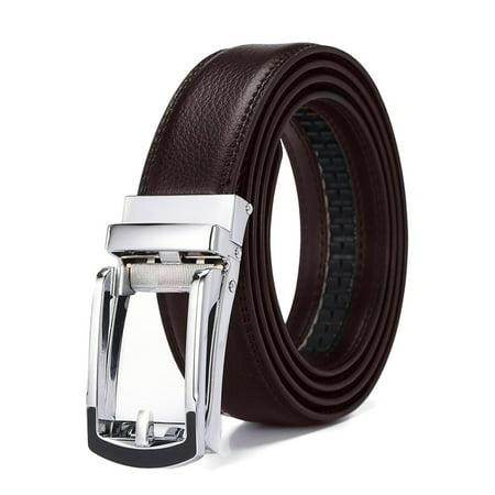 Xhtang 2017 New Style Comfort Click Belt Ratchet Leather Dress Belts for Men 30mm Wide Brown And Black Leather Belt 125cm(Suit for 43'' Waist) (Belt With Suit)