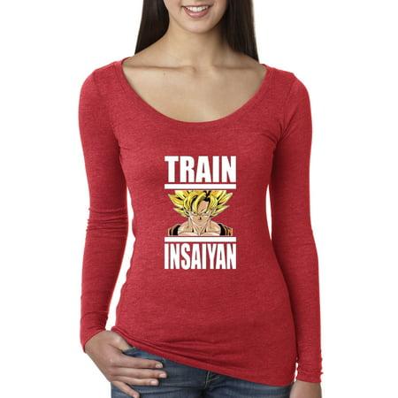 New Way 667 - Women's Long Sleeve T-Shirt Train Insaiyan Super Saiyan Goku Dragon Ball Dbz