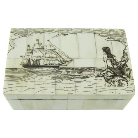 Reproduction Jewelry - Fake Reproduction Scrimshaw Art Bone Mermaid Nautical Jewelry Box Treasure Chest