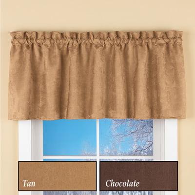 Suede Faux Rod Pocket Curtain Valance Chocolate Walmart Com