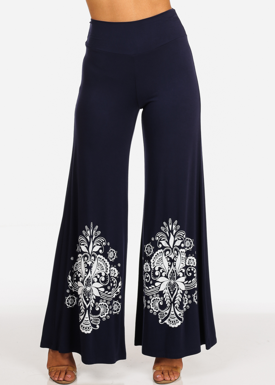 Womens Juniors Casual Graphic Print Solid Navy High Waisted Foldover Wide Legged Pants 30904N