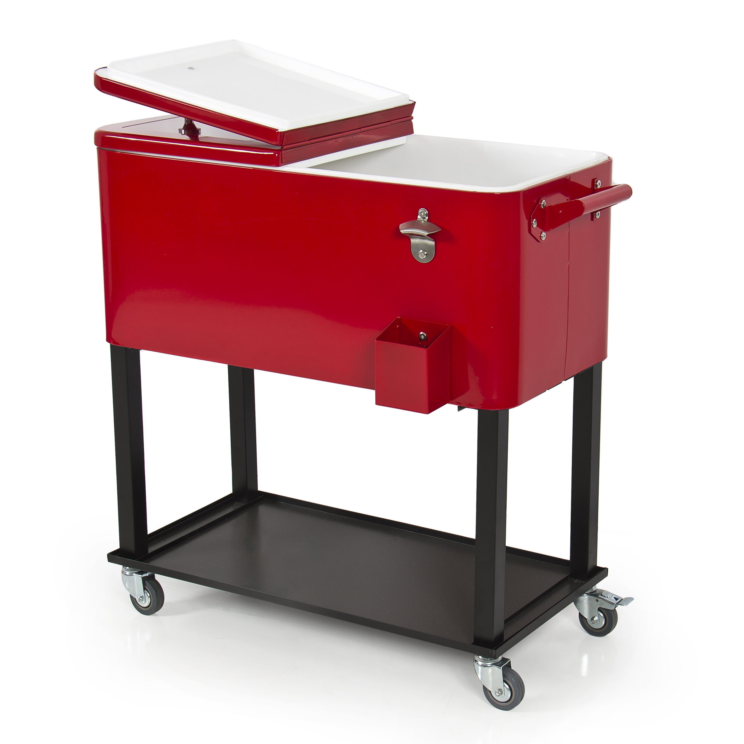 Patio Deck Cooler Rolling Outdoor 80 Quart Solid Steel Construction Home  Party   Walmart.com