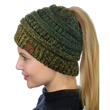 2f721d94573 C.C BeanieTail Soft Stretch Cable Knit Messy High Bun Ponytail Beanie Hat