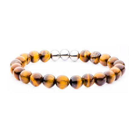 Mens Stainless Steel Tigers - Mens 8mm Tiger Eye Bead and Stainless Steel Bracelet 8 1/2 inch long