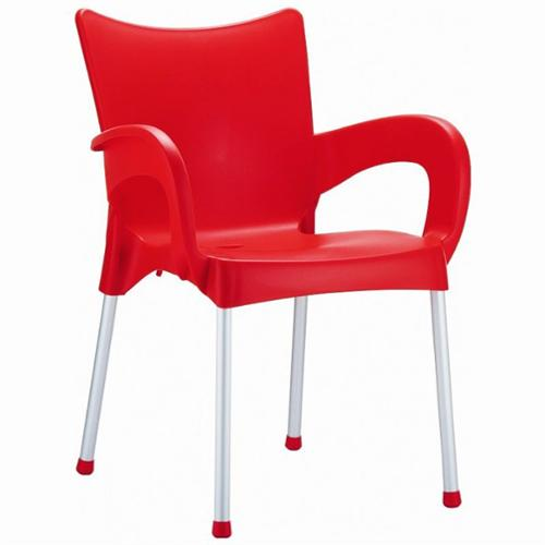 Compamia Romeo Resin Dining Arm Chair in Red (set of 4)