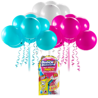 Bunch O Balloons Self-Sealing Latex Party Balloons, Pink, Teal, & White, 11in, 24ct