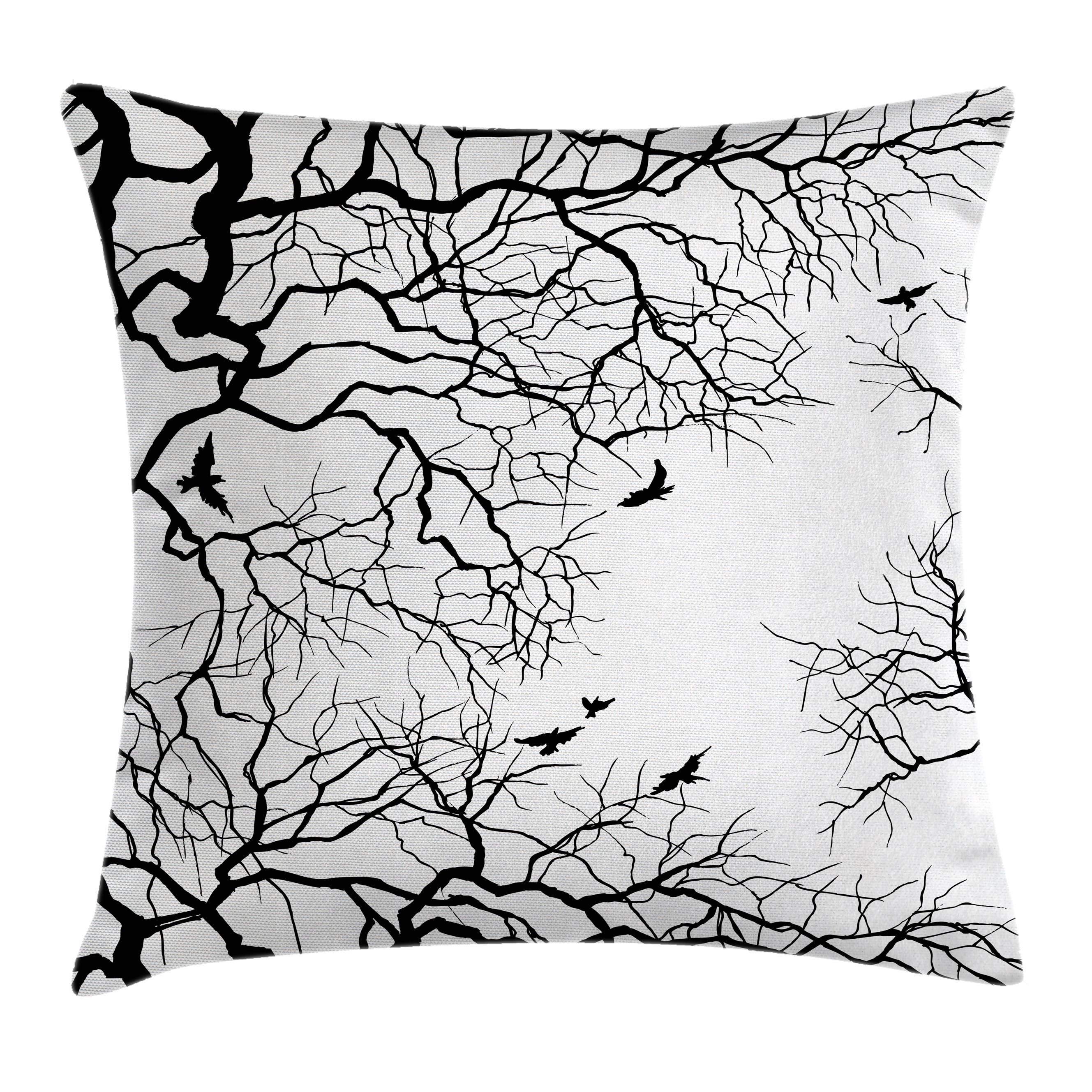 Nature Decor Throw Pillow Cushion Cover, Birds Flying over Twiggy Tree Branches Stylish Autumn Season Sky View Art, Decorative Square Accent Pillow Case, 16 X 16 Inches, Black White, by Ambesonne