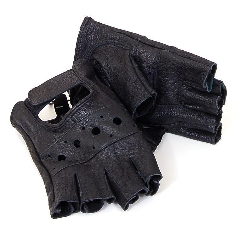 Alpine Swiss Men's Genuine Leather Gloves Weight Training Biker Soft Fingerless