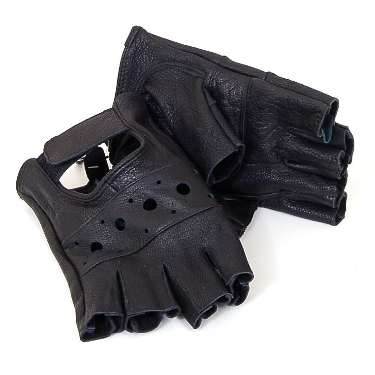 Alpine Swiss Men's Genuine Leather Gloves Weight Training Biker Soft Fingerless Black Size 2XL