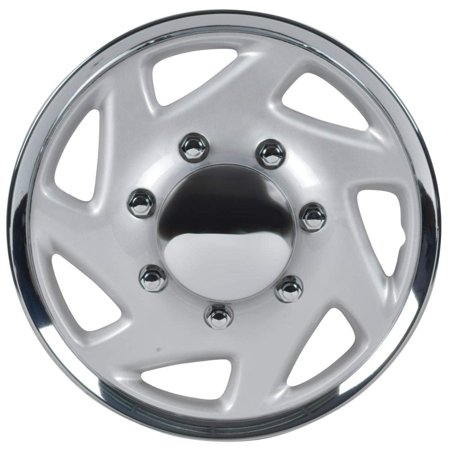 """Premium 16"""" Inch Hubcaps for Ford Trucks & Cargo Vans E150 E250 E350 Econoline / F150 F250 F350 , OEM Genuine Factory Replacement - Easy Snap On - Aftermarket Wheel Covers - Silver & Chrome (Single)"""