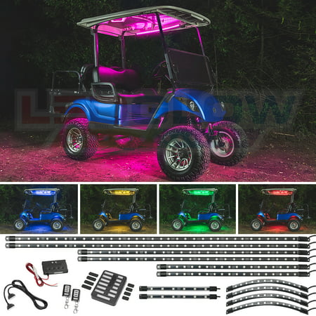 LEDGlow 12pc Million Color SMD LED Golf Cart Underbody Underglow Lighting Kit with Canopy. Wheel Well & Interior Lights
