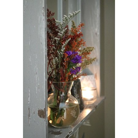 Acrylic Face Mounted Prints Vase Floral Glass Home Flower Bouquet Arrangement Print 20 x 16. Worry Free Wall Installation - Shadow Mount is Included.