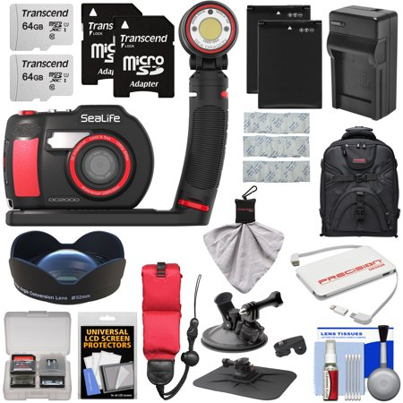 SeaLife DC2000 HD Underwater Digital Camera with Sea Dragon 3000 Auto Light Set + 0.75x Wide Angle Lens + (2) 64GB Cards + Batteries + Charger + Mounts + Backpack (Dragon Apx Lenses)