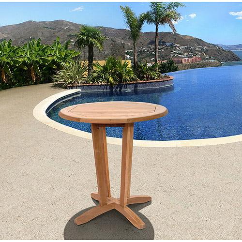 Amazonia Preston Teak Wood Round Outdoor Bistro Table, Light Brown by International Home Miami