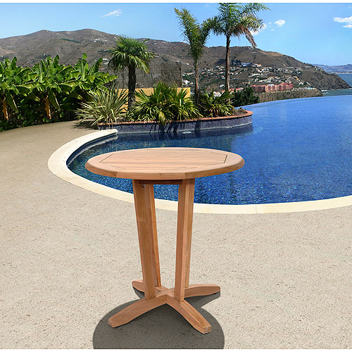 Superb Amazonia Preston Teak Wood Round Outdoor Bistro Table, Light Brown Part 32