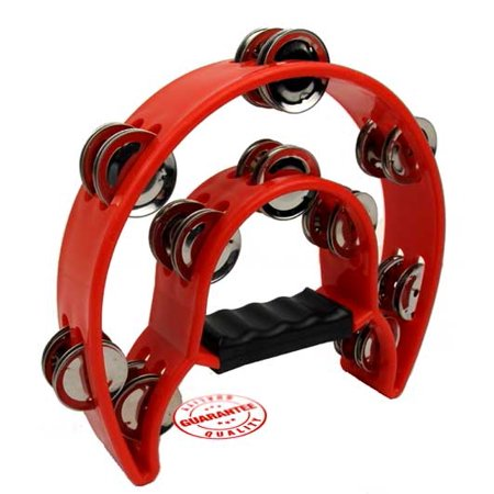 Half Moon Tambourine - D'Luca 9 Inches Double Cutaway Half Moon Tambourine Red