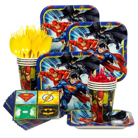 Justice League Birthday Party Standard Tableware Kit (Serves 8) - Party Supplies - Justice League Party