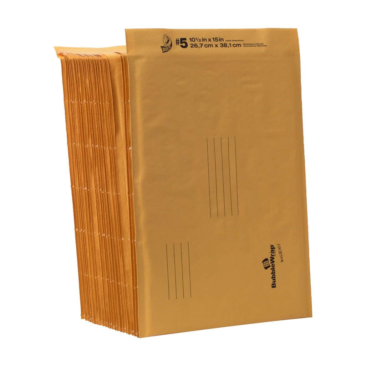 Duck Kraft Bubble Mailers, #5 (10.5 in. x 15 in.) Self-Sealing, 25-Count
