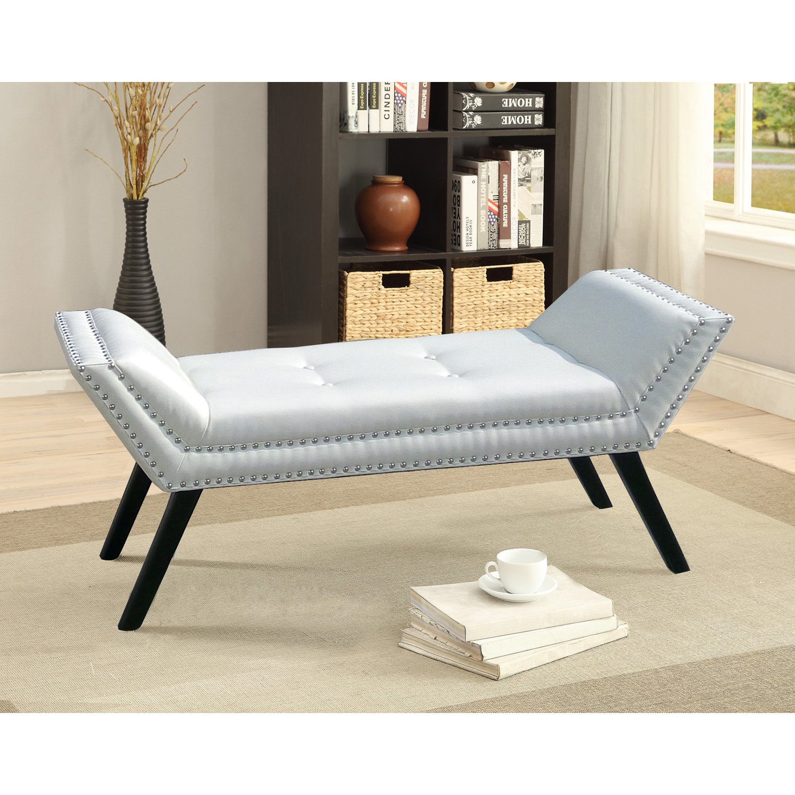 Baxton Studio Tamblin White Faux Leather Upholstered Ottoman Bench