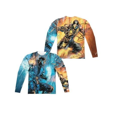 Long Sleeve: Mortal Kombat- Sub Zero Vs. Scorpion (Front/Back) Longsleeve Shirt - Sub Zero Outfit
