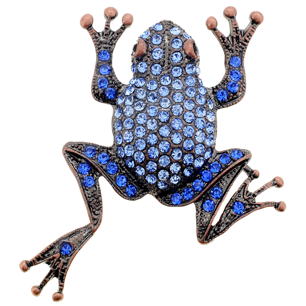 Sapphire Blue Frog Crystal Pin Brooch by