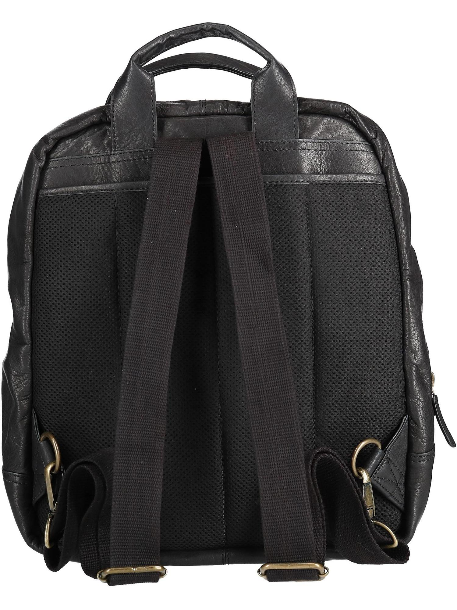 3e80b0453b15 Size one size Men's Leather Top Zip Backpack with Laptop Sleeve, Black