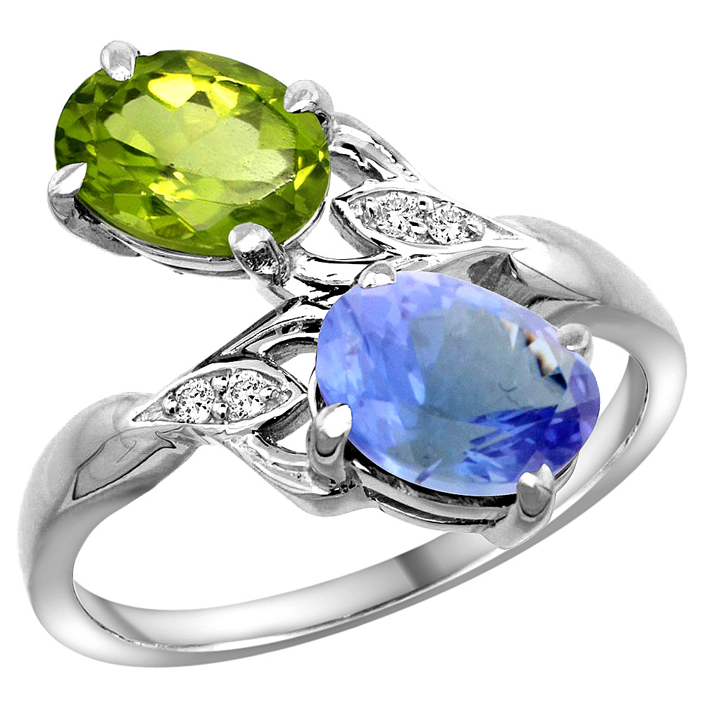14k White Gold Diamond Natural Peridot & Tanzanite 2-stone Ring Oval 8x6mm, size 7.5 by Tanzanite Rings