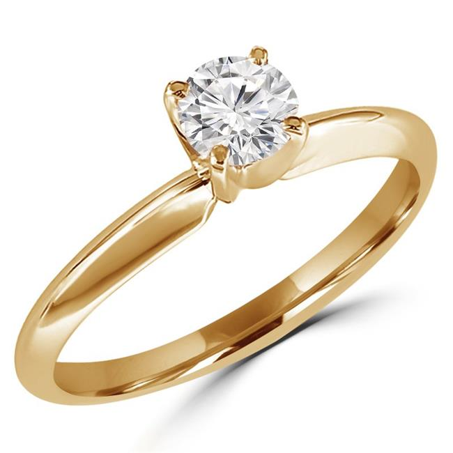 MD170187-7.5 0.25 CT Round Diamond Solitaire Engagement Ring in 10K Yellow Gold - Size 7.5