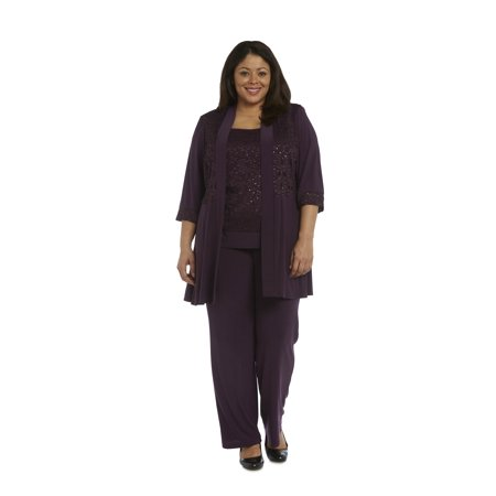Women's Plus Size 2 Piece Lace Knit Pant -